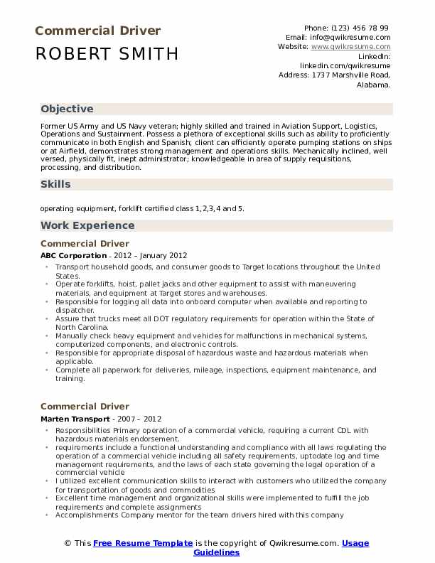 Commercial Driver Resume Format