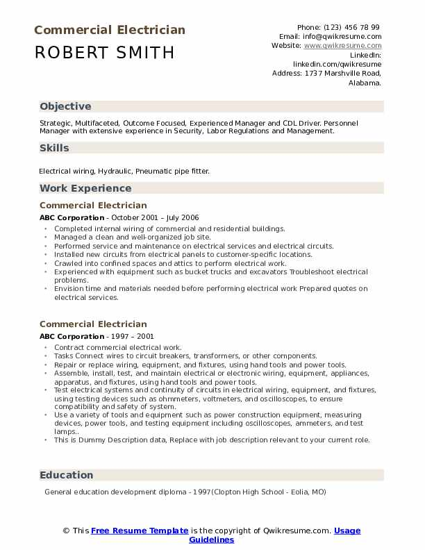 Commercial Electrician Resume example