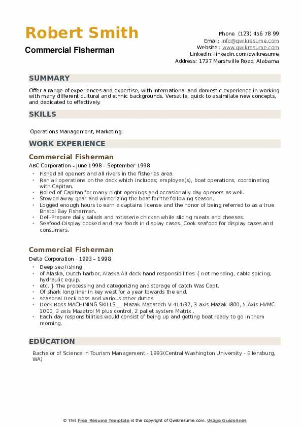 Commercial Fisherman Resume example