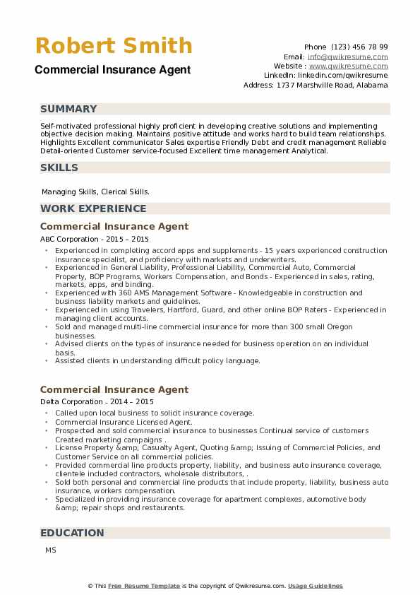 Commercial Insurance Agent Resume example