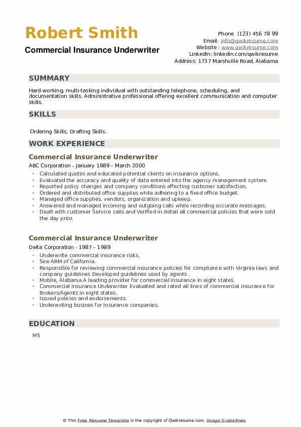 Commercial Insurance Underwriter Resume example