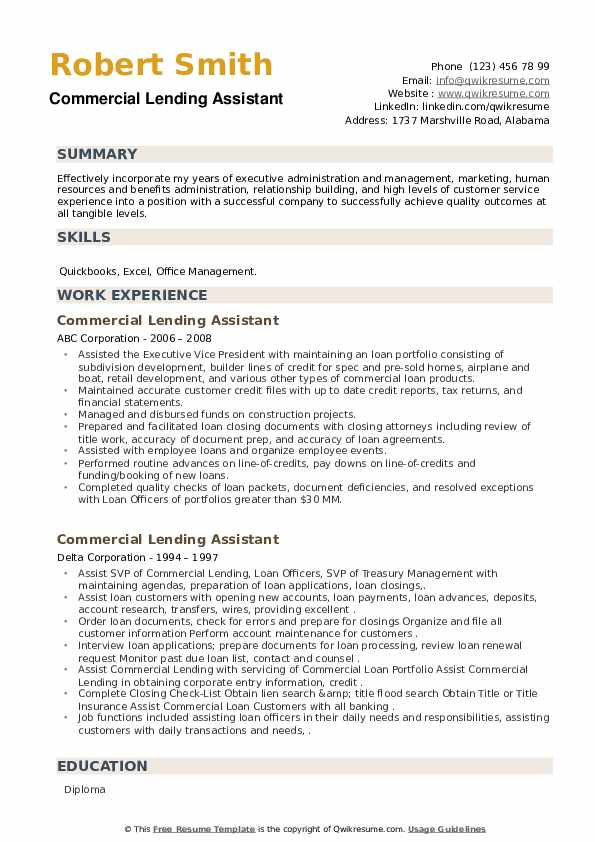 Commercial Lending Assistant Resume example