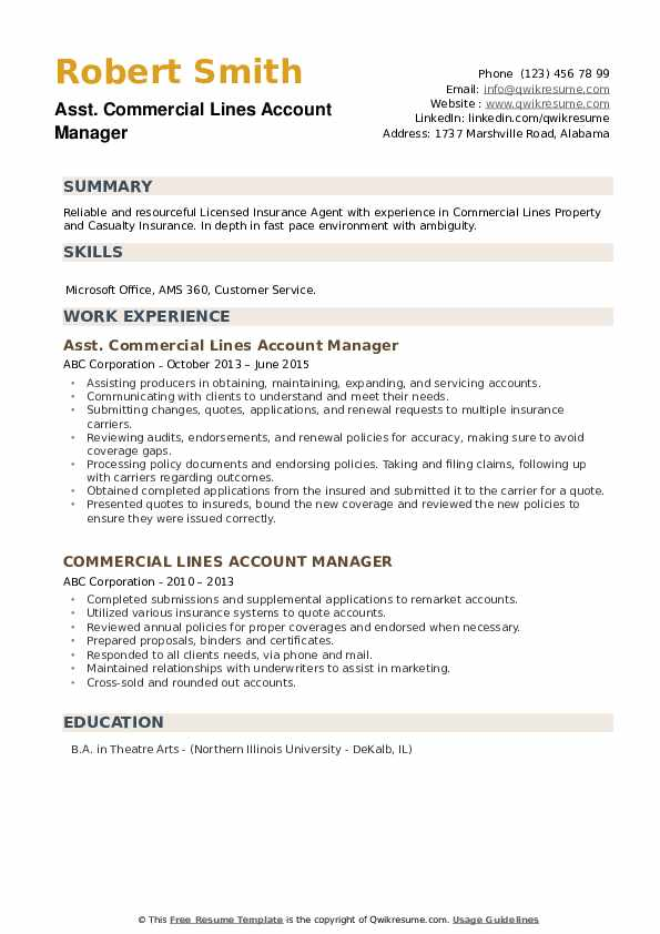 Commercial Lines Account Manager Resume Samples | QwikResume