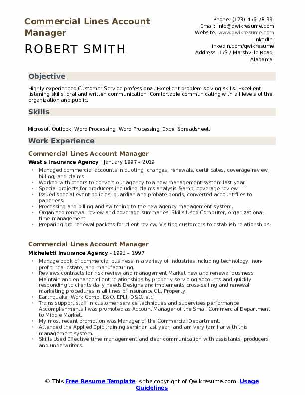 Commercial Lines Account Manager Resume example