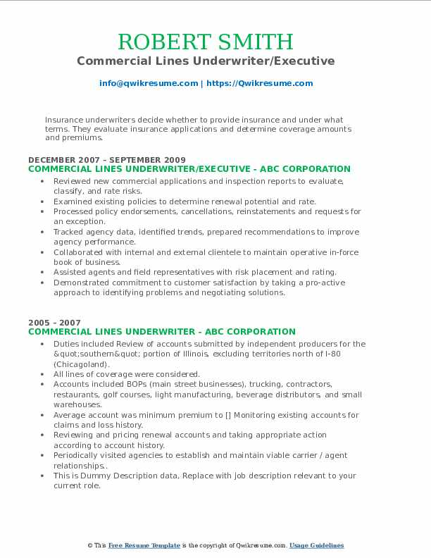 commercial lines underwriter resume samples