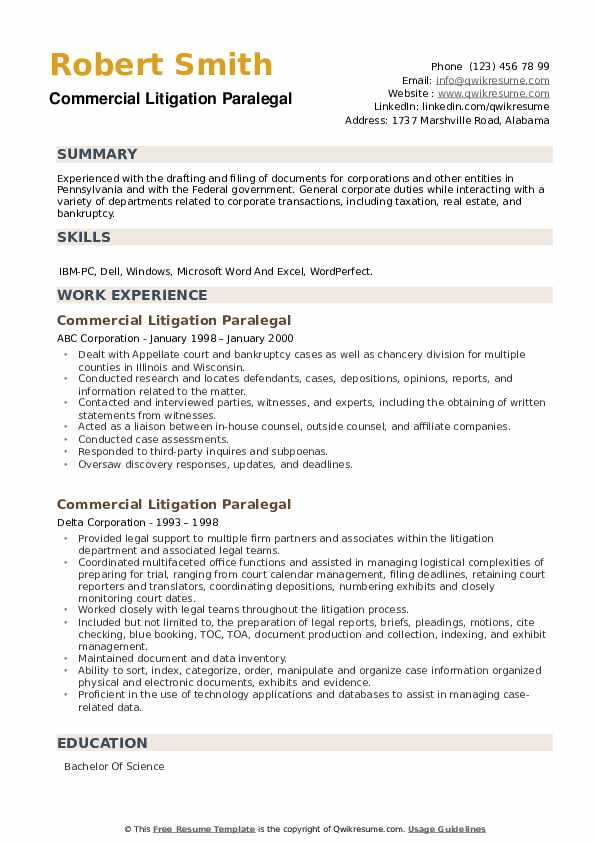 Commercial Litigation Paralegal Resume example