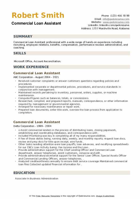 Commercial Loan Assistant Resume example