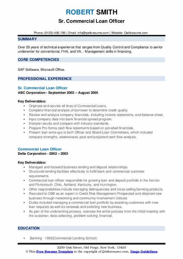 commercial loan officer resume samples  qwikresume