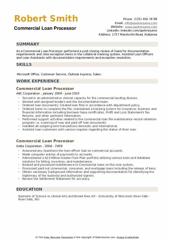 Commercial Loan Processor Resume example