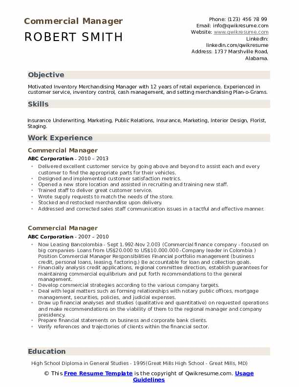 Commercial Manager Resume example