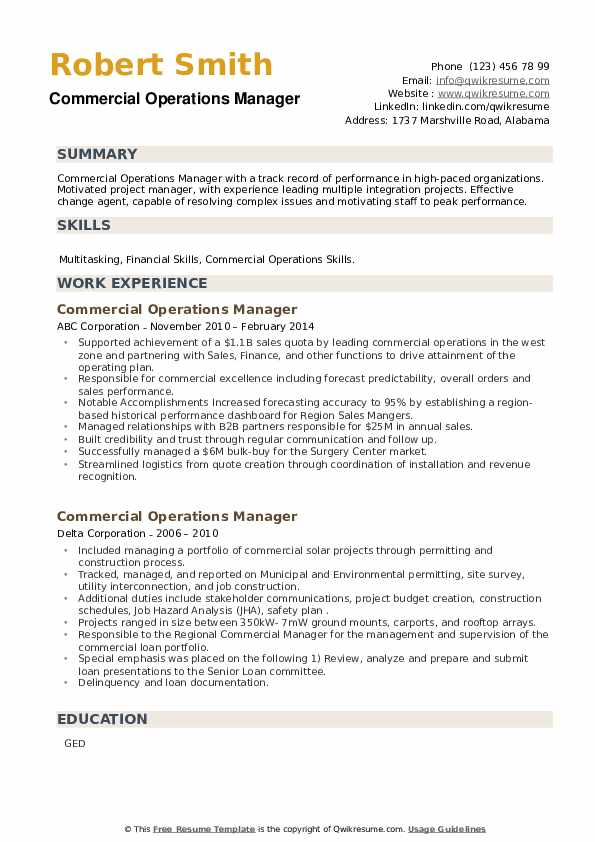Commercial Operations Manager Resume example
