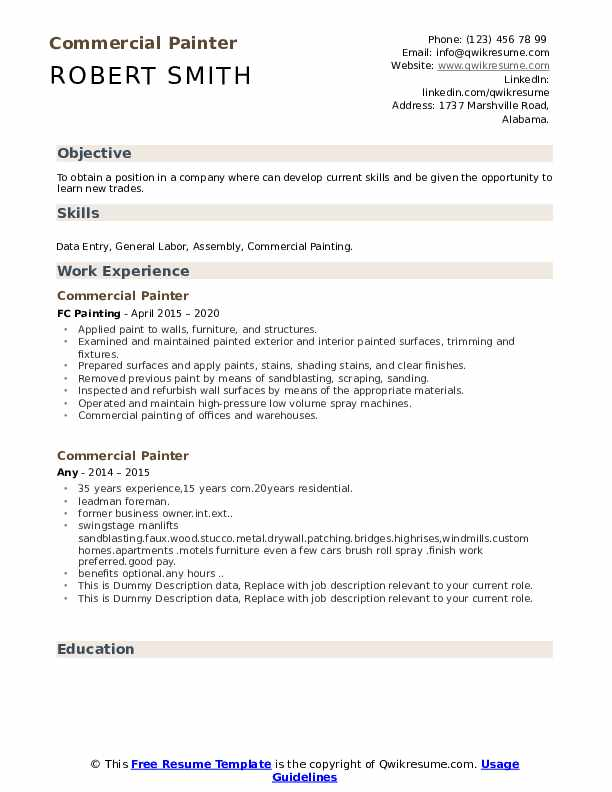 Commercial Painter Resume example