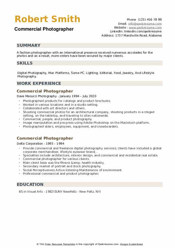 Commercial Photographer Resume example