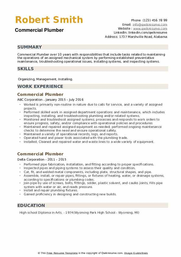 Commercial Plumber Resume example