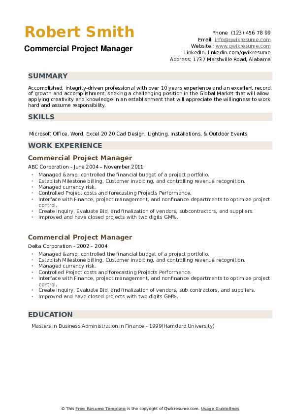 Commercial Project Manager Resume example