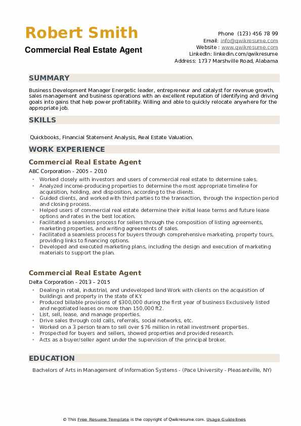 Commercial Real Estate Agent Resume example