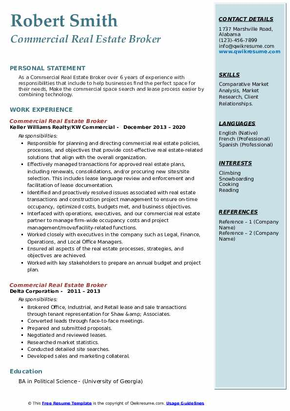 commercial real estate broker resume samples
