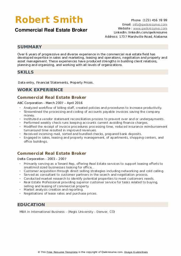 Commercial Real Estate Broker Resume example
