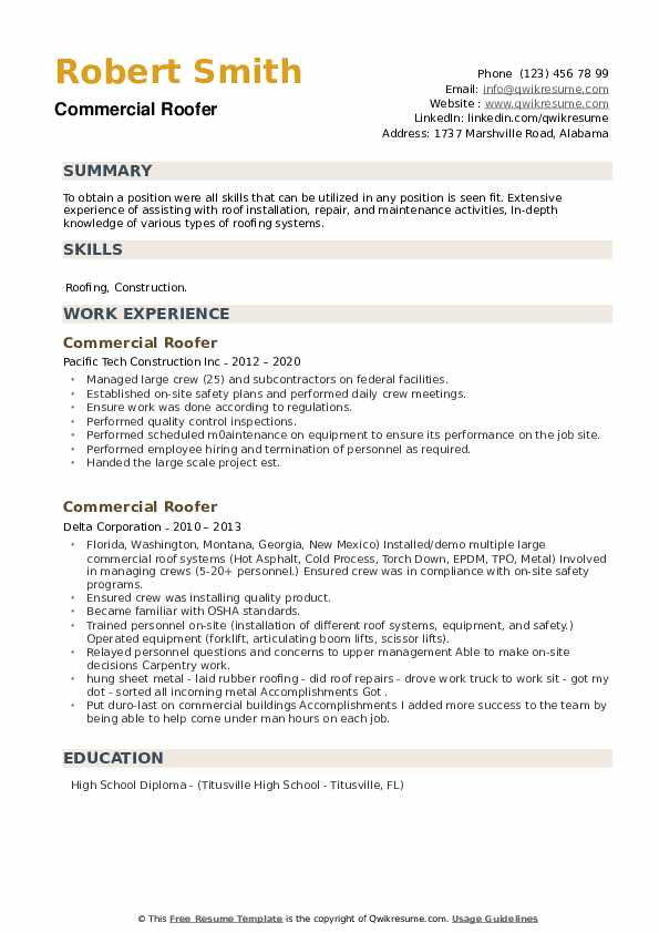 Commercial Roofer Resume example