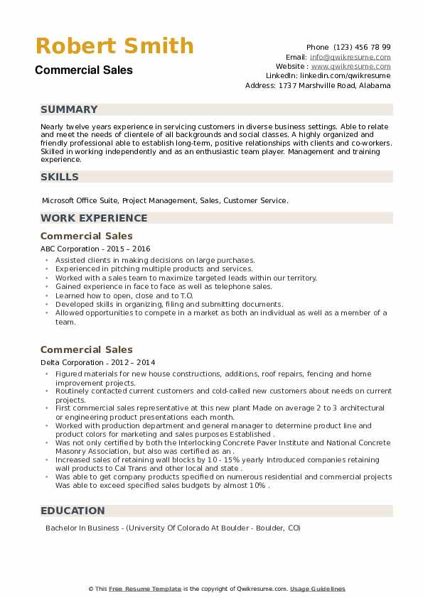 Commercial Sales Resume example
