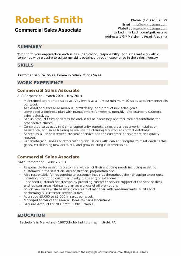 Commercial Sales Associate Resume example