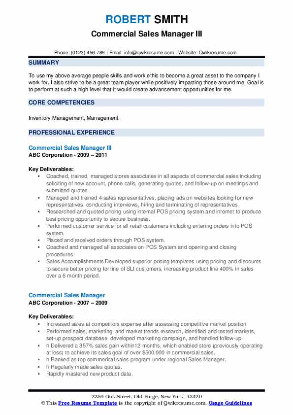 Regional Sales Representative Resume example