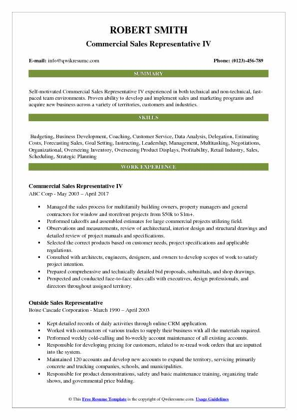 Commercial Sales Representative IV Resume Model