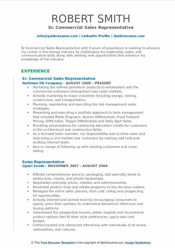 Sr. Commercial Sales Representative Resume Template