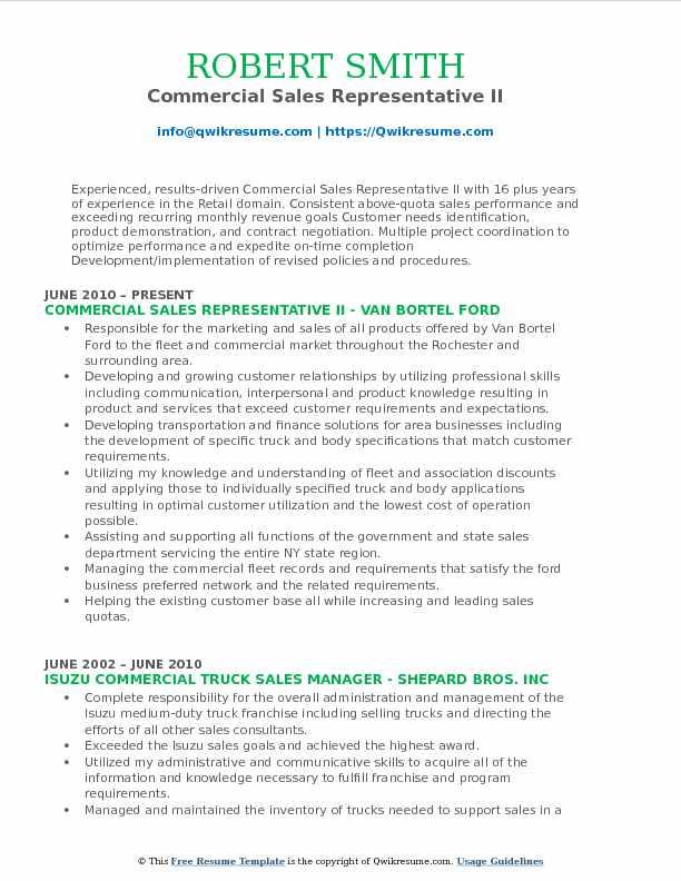 Commercial Sales Representative II Resume Example