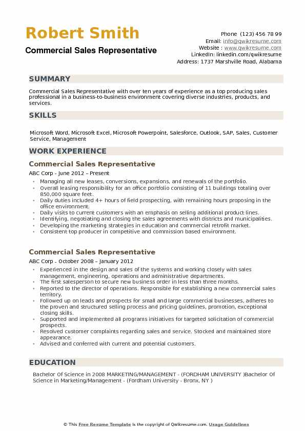 Commercial Sales Representative Resume Samples | QwikResume