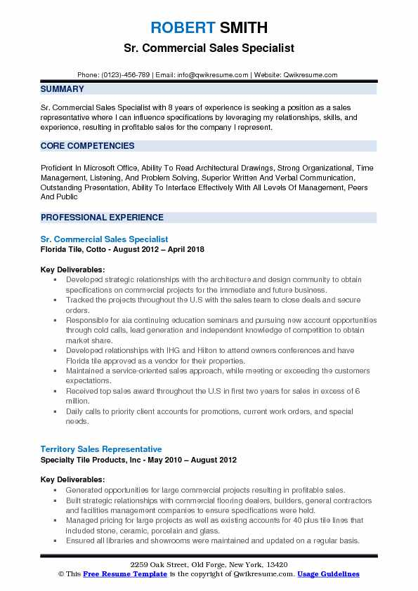 Sr. Commercial Sales Specialist Resume Model