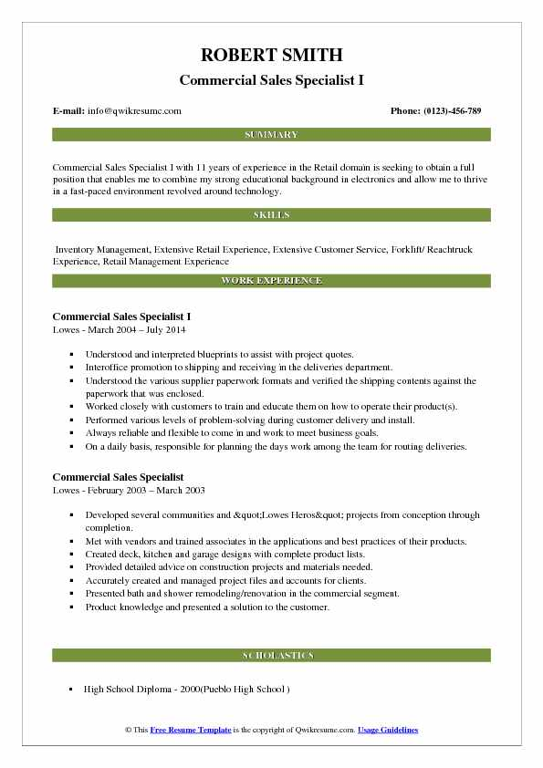 Commercial Sales Specialist I Resume Template