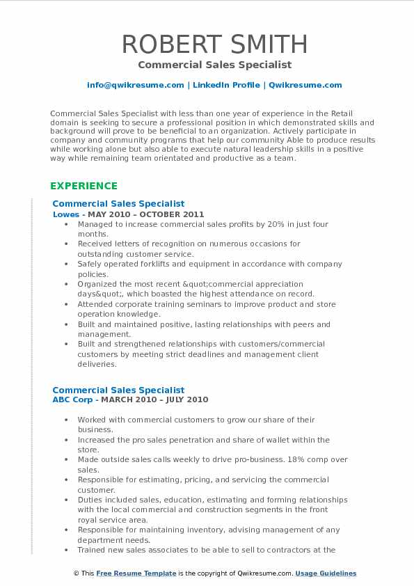 Commercial Sales Specialist Resume Template