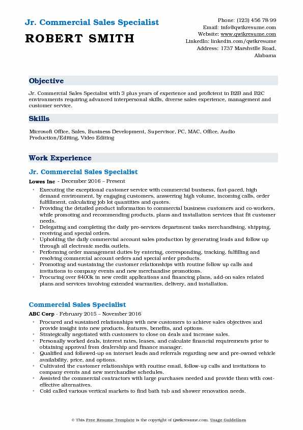 Jr. Commercial Sales Specialist  Resume Format