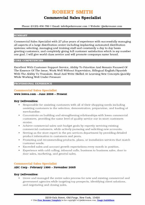 Commercial Sales Specialist Resume Sample
