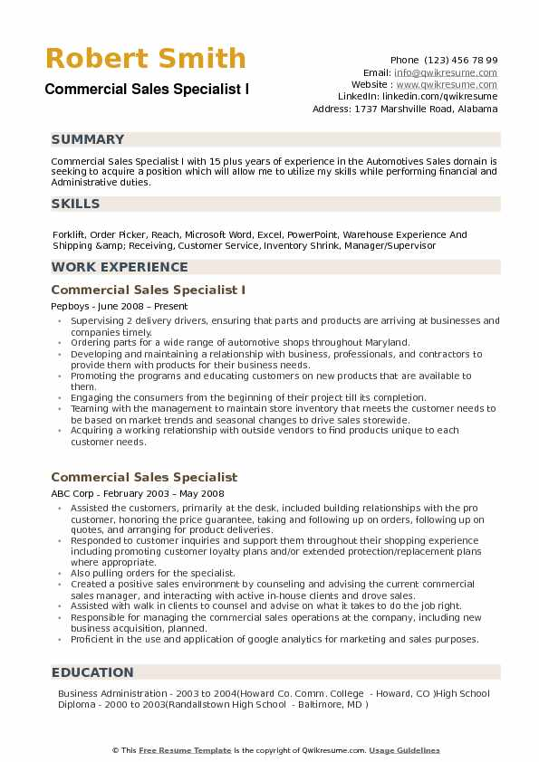 Commercial Sales Specialist Resume example