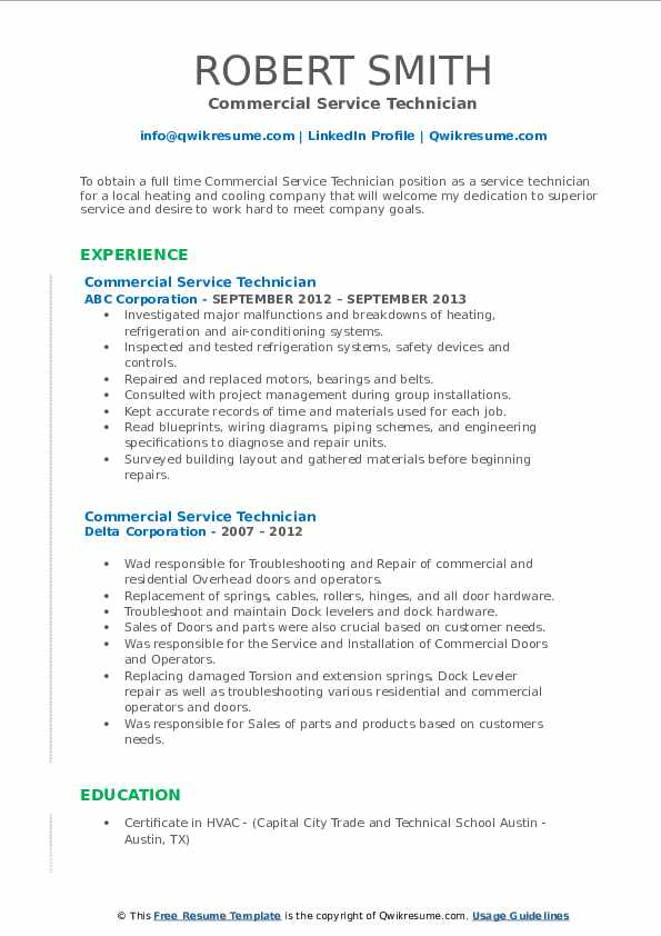 commercial service technician resume samples  qwikresume