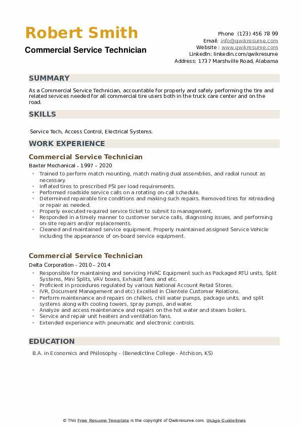 Commercial Service Technician Resume example
