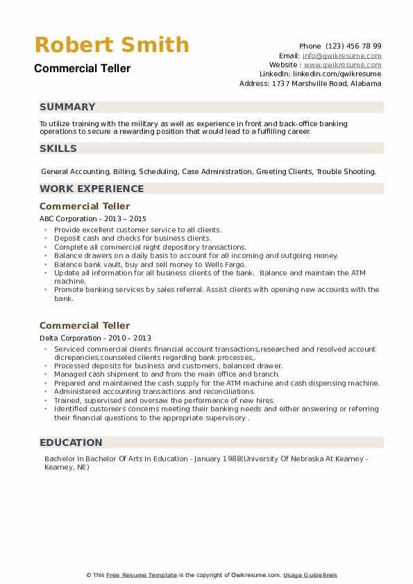 Commercial Teller Resume example