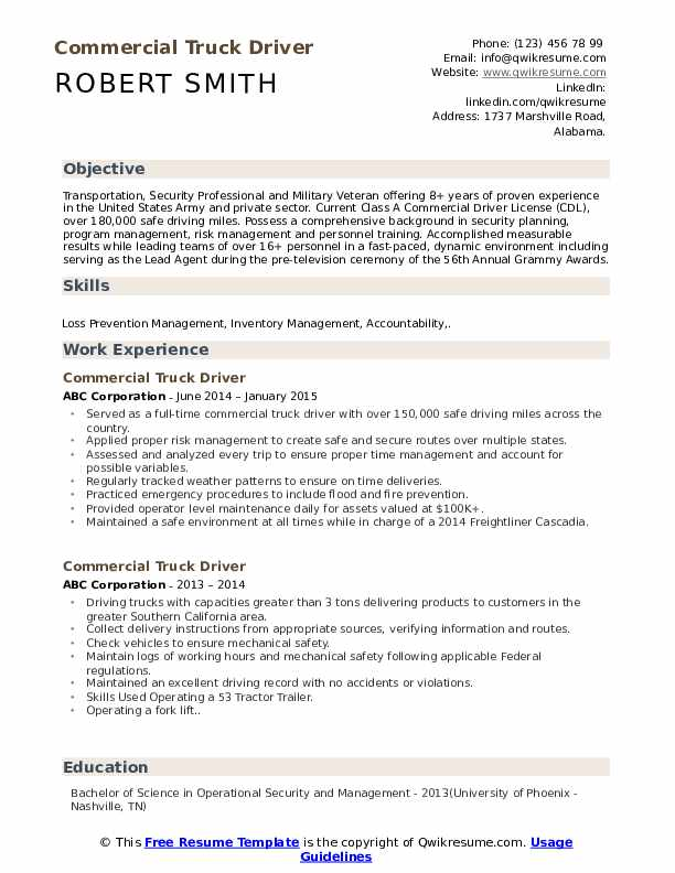 Commercial Truck Driver Resume Samples Qwikresume