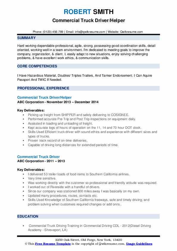 Commercial Truck Driver/Helper Resume Model