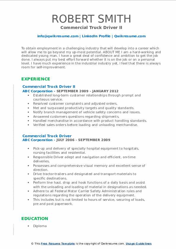 Commercial Truck Driver II Resume Template