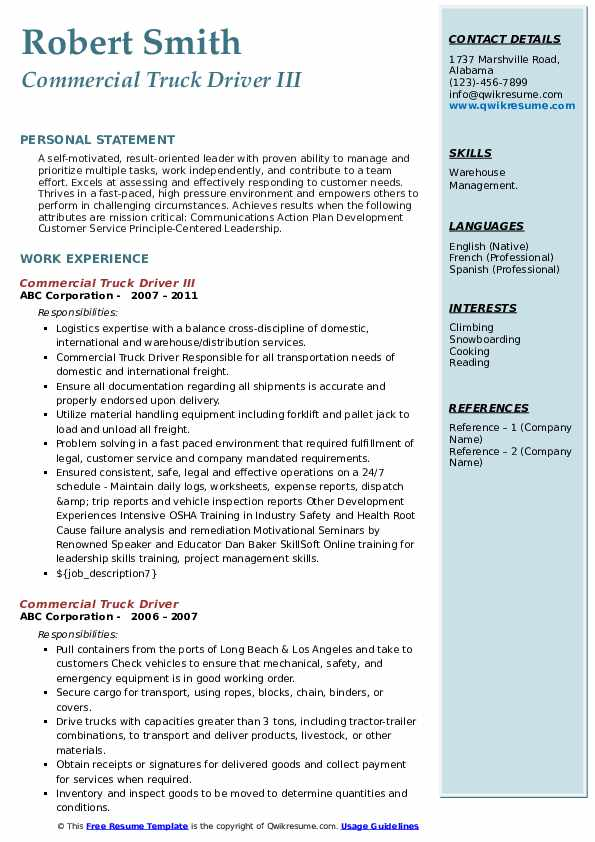 Commercial Truck Driver III Resume Sample