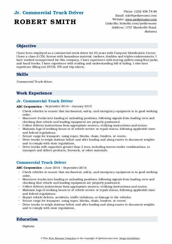 Jr. Commercial Truck Driver Resume Format