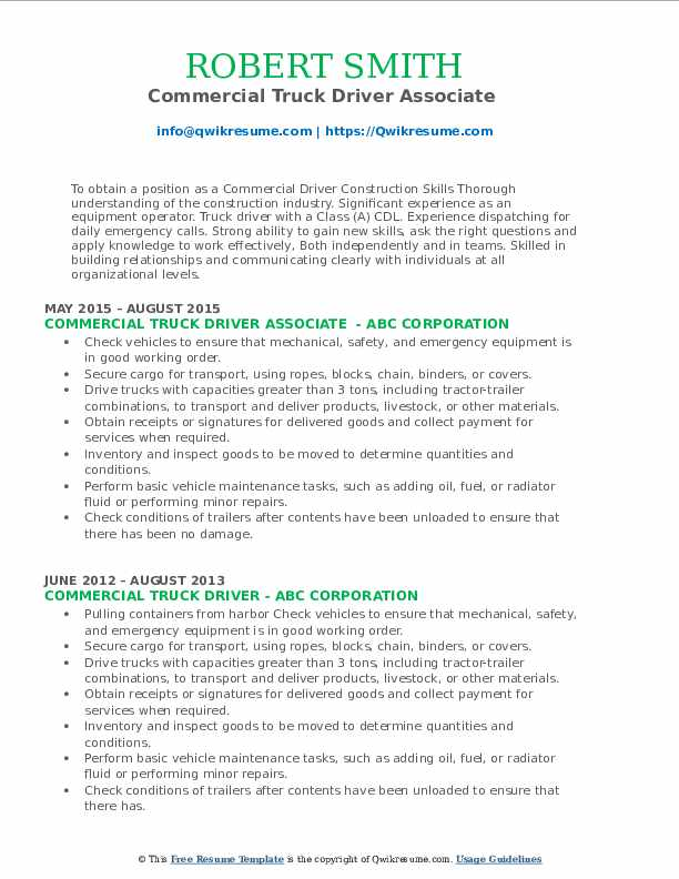 Commercial Truck Driver Associate  Resume Template