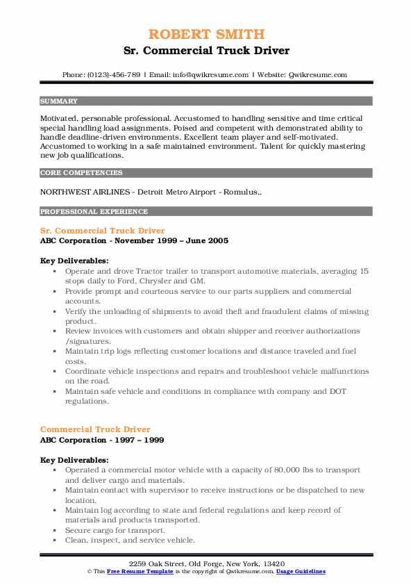 Sr. Commercial Truck Driver Resume Format