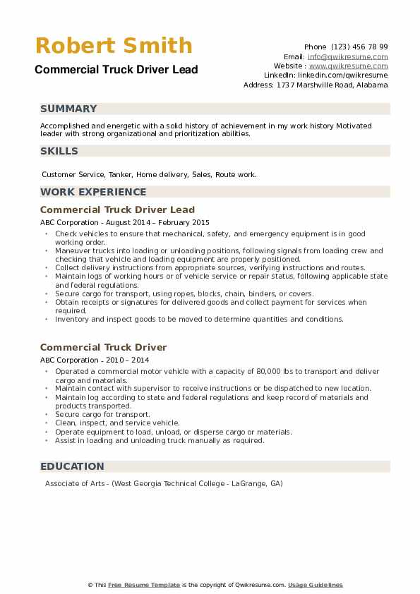 Commercial Truck Driver Lead Resume Example