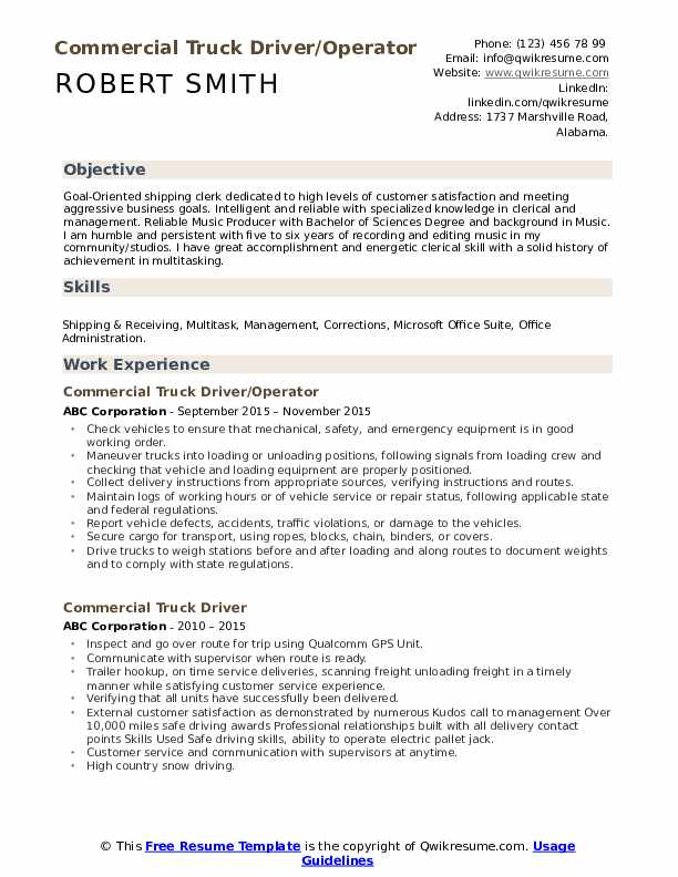 Commercial Truck Driver/Operator  Resume Format