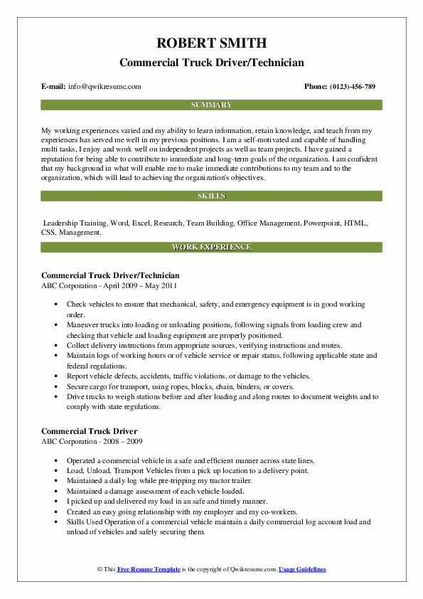 Commercial Truck Driver/Technician Resume Format