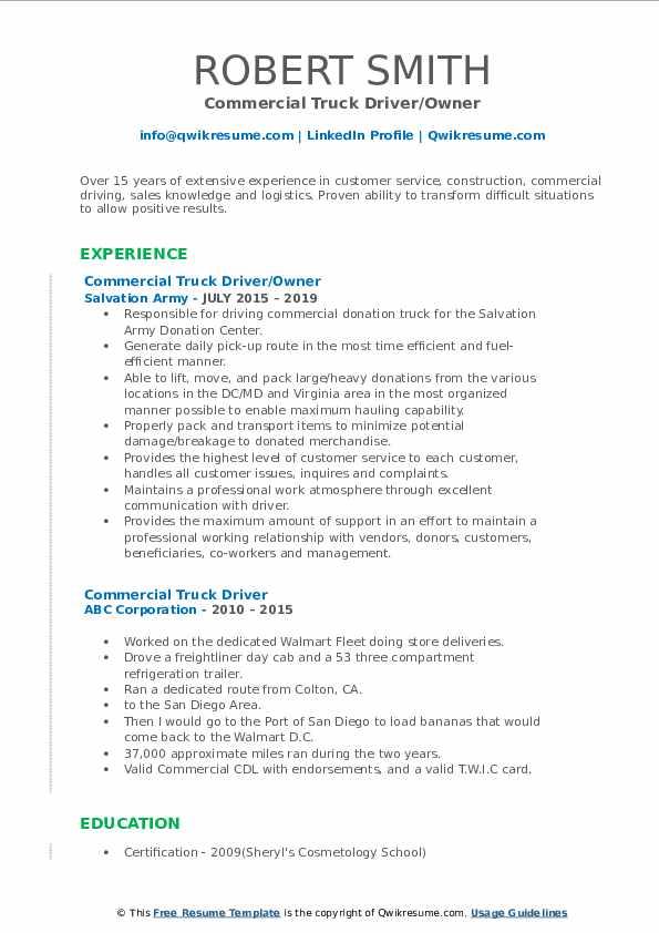 Commercial Truck Driver/Owner Resume Sample